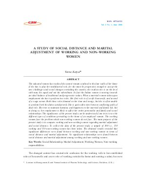 A STUDY OF SOCIAL DISTANCE AND MARITAL ADJUSTMENT OF WORKING AND NON-WORKING WOMEN by Veena Katyal