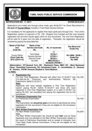 TNPSC Recruitment 2017 for 05 Tourist Officer Post