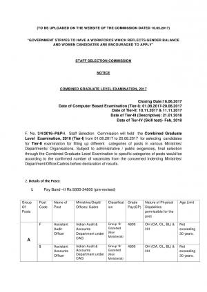 SSC CGL 2017 Official Notification