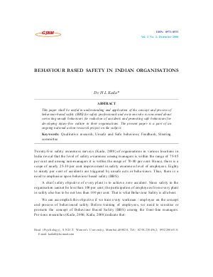 BEHAVIOUR BASED SAFETY IN INDIAN ORGANISATIONS by Dr. H L Kaila