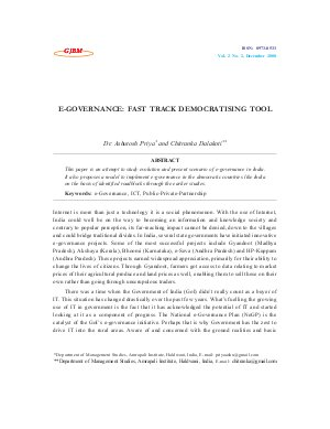 E-GOVERNANCE: FAST TRACK DEMOCRATISING TOOL by Dr. Ashutosh Priya and Chitranka Dalakoti - Read on ipad, iphone, smart phone and tablets.