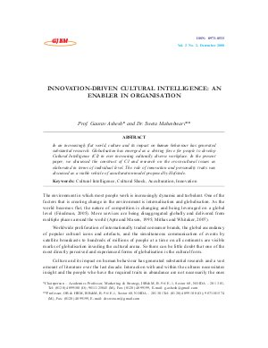 INNOVATION-DRIVEN CULTURAL INTELLIGENCE: AN ENABLER IN ORGANISATION by Prof. Gaurav Ashesh and Dr. Sweta Maheshwari