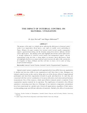 THE IMPACT OF INTERNAL CONTROL ON MATERIAL UTILISATION by Dr Ajay Dwivedi and Hagos Mekonnen - Read on ipad, iphone, smart phone and tablets