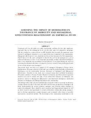 ASSESSING THE IMPACT OF MODERATOR ON TOLERANCE OF AMBIGUITY AND MANAGERIAL EFFECTIVENESS RELATIONSHIP: AN EMPIRICAL STUDY by Shalini Srivastava