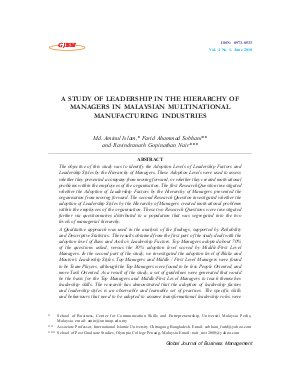 A STUDY OF LEADERSHIP IN THE HIERARCHY OF MANAGERS IN MALAYSIAN MULTINATIONAL MANUFACTURING INDUSTRIES by Md. Aminul Islam, Farid Ahammad Sobhani and Ravindranath Gopinathan Nair