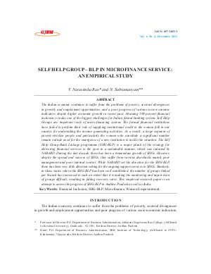 SELF HELP GROUP – BLP IN MICROFINANCE SERVICE: AN EMPIRICAL STUDY by V. Narasimha Rao and N. Subramanyam