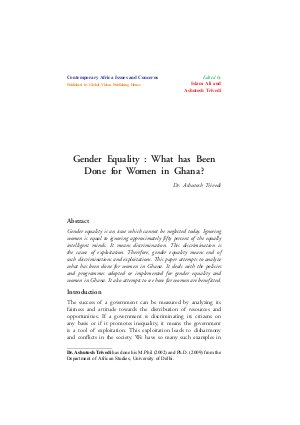Gender Equality : What has Been Done for Women in Ghana? by Dr. Ashutosh Trivedi