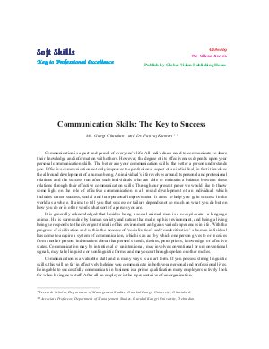 Communication Skills: The Key to Success by Ms. Gargi Chauhan and Dr. Patiraj Kumari