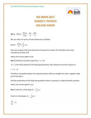 IIT JEE Mains 2017 Physics Solutions