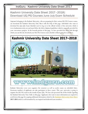 Kashmir University Date Sheet