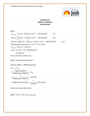 JEE MAIN 2017 Chemistry Solved Question Paper