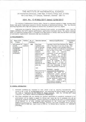 IMSC, Chennai Recruitment 2017 for 01 Project Assistant Posts