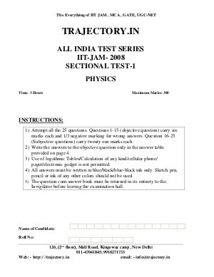 ALL INDIA TEST SERIES IIT-JAM- 2008