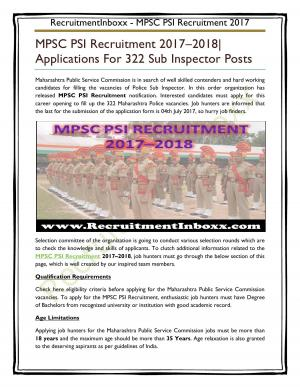 MPSC PSI Recruitment  - Read on ipad, iphone, smart phone and tablets.
