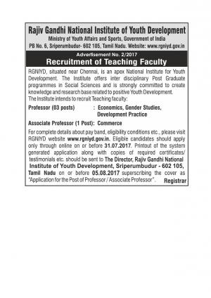 RGNIYD Recruitment 2017 for 04 Faculty Posts