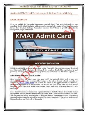 KMAT Admit Card