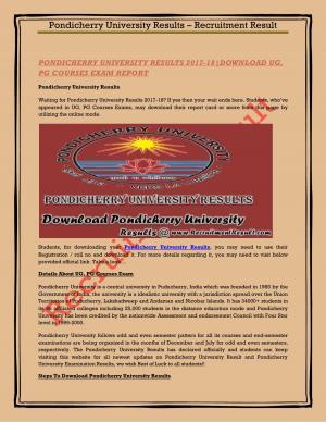 Pondicherry University Results