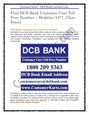DCB Bank Customer Care Toll Free Number
