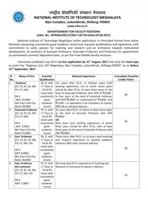 NIT, Meghalaya Recruitment 2017 for 05 Faculty Posts