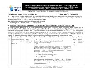 NIELIT Recruitment 2017 for 32 Scientific Officer & Other Posts