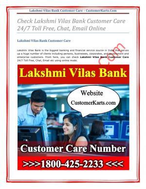 Lakshmi Vilas Bank Customer Care Toll Free Number| 24 Hr Net/SMS Banking No