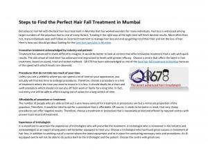 Steps to Find the Perfect Hair Fall Treatment in Mumbai
