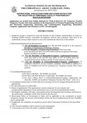 NIT, Tiruchirappalli Recruitment 2017 for 15 Temporary Faculty Posts