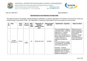 NCSCM Recruitment 2017 for 15 JRF & Other Posts