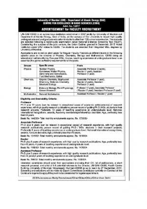 University of Mumbai Recruitment 2017 for 12 Faculty Posts