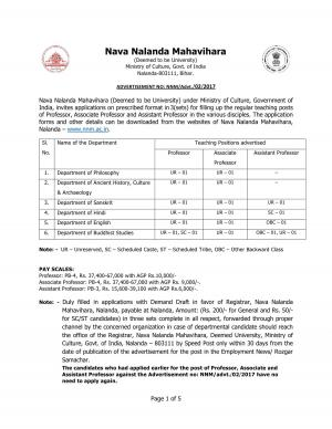 Nava Nalanda Mahavihara Recruitment 2017 for 18 Faculty Posts