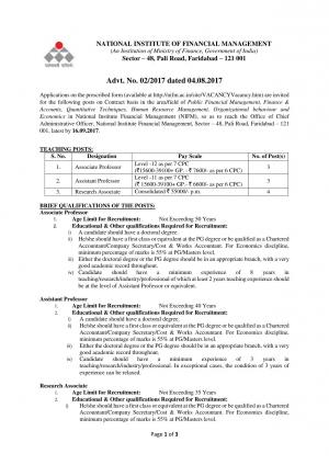 NIFM Recruitment 2017 for 10 Faculty & Research Associate Posts