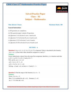 CBSE Class 11 Mathematics Solved Practice Paper 2017 – 2018: Set I