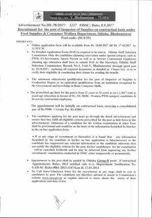 Odisha SSC Recruitment 2017 for 74 Inspector Posts