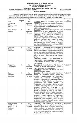 National Health Mission, Damn and Diu Staff Nurse and Other Jobs