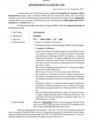 Mizoram PSC Recruitment 2017, 5 Vacancies for Sub Inspector Posts