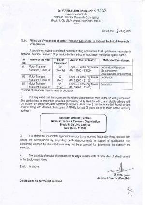 NTRO Sarkari Naukri: 26 Vacancies for Motor Transport Assistant Notified
