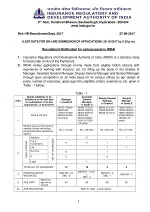 IRDAI Recruitment 2017, 29 Vacancies for Grade