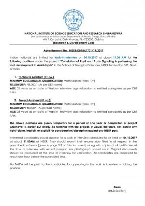 Sarkari Naukri at NISER: Opportunity for 10th Pass for Technical Assistant and Project Assistant Posts