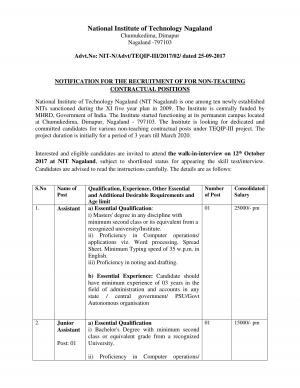 NIT Nagaland Sarkari Naukri: Walk in for Non-Teaching Posts