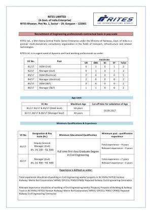 RITES Recruitment 2017, Sarkari Naukri for 12 Engineering Professionals