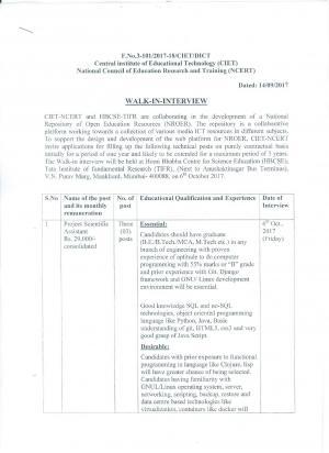 Sarkari Naukri in CIET NCERT: 3 Vacancies Notified for Project Scientific Assistant