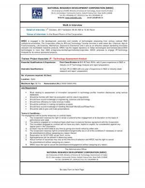 NRDC Recruitment 2017, Sarkari Naukri for Trainee/ Project Associate (IP / Tech Assessment Analyst)