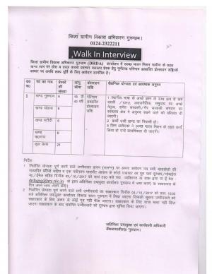 DRDA, Gurugram Govt. Job 2017 for 24 Posts of Motivators