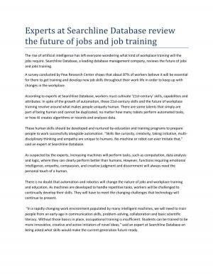 Experts at Searchline Database review the future of jobs and job training