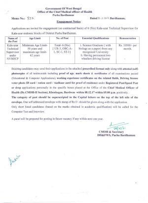 CMOH, Purba Bardhaman to Appoint 06 Kala-azar Technical Supervisor Posts