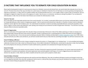5 FACTORS THAT INFLUENCE YOU TO DONATE FOR CHILD EDUCATION IN INDIA