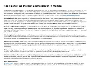 Top Tips to Find the Best Cosmetologist in Mumbai