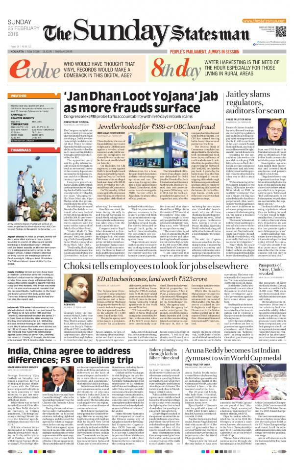 Kolkata - The Statesman, 25th February 2018 : readwhere