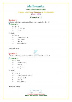 NCERT Solutions Class 8 Maths Exercise 2 3 e-book in English