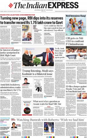 Indian Express Kolkata, Tue, 27 Aug 19